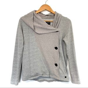 Hurley hooded jacket off center buttons pockets
